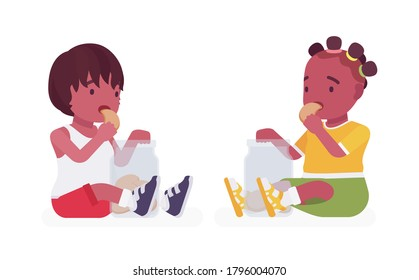 Toddler children, black little boy and girl enjoying eating cookies. Cute sweet happy healthy baby aged 12 to 36 months, wearing summer outfits, kid clothes. Vector flat style cartoon illustration