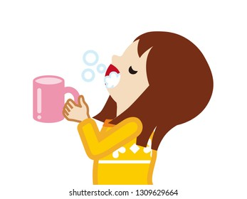 Toddler girl gargling with water for prevent cold