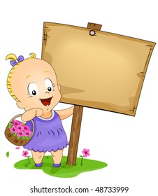 Toddler holding basket with Blank Signboard - Vector