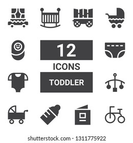 toddler icon set. Collection of 12 filled toddler icons included Tricycle, Baby book, Baby bottle, Pushchair, Cot, Baby clothes, Diaper, Crib, Stroller, Newborn, Carriage