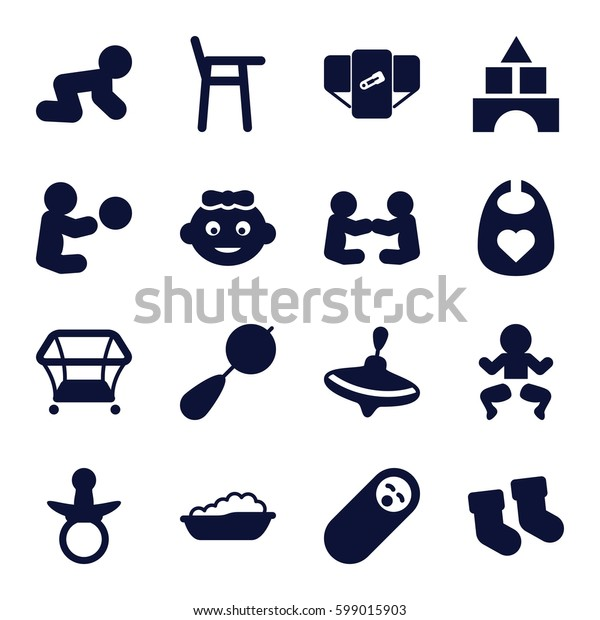 toddler icons set. Set of 16 toddler filled icons such as pacifier, baby socks, beanbag, diaper, whirligig, toy tower, playpen