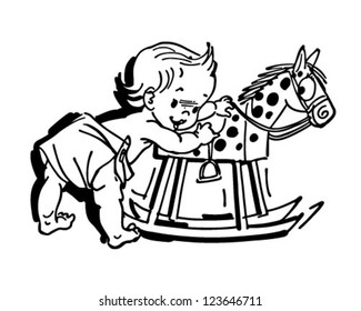 Toddler With Rocking Horse - Retro Clipart Illustration