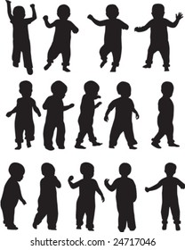 Toddler silhouettes - vector illustrations