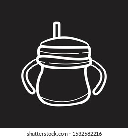 Toddler Sippy Cup Hand Drawn icon flat black