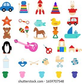 Toddler toys vector. Pyramid, guitar, typewriter, bear, stroller, socks, scissors, rattle, duck, horse, baracas, ship, pacifier, bottle. For the design of children's books, business cards, flyers.
