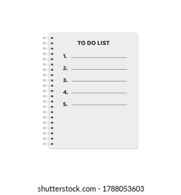 To-do list by item in a notebook, isolated on white background. Vector illustration, eps 10.