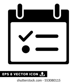 Todo List Calendar Day icon. Vector EPS illustration style is flat iconic symbol, black color.