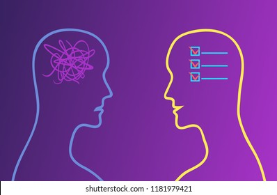 To-do list in the head and chaos in the head. Conception order versus confusion. Vector illustration.