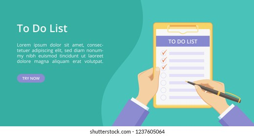 Todo list on clipboard with hands landing page concept. Website page vector concept, checklist with task to do. Online todo list service green landing template illustration with hand and clipboard