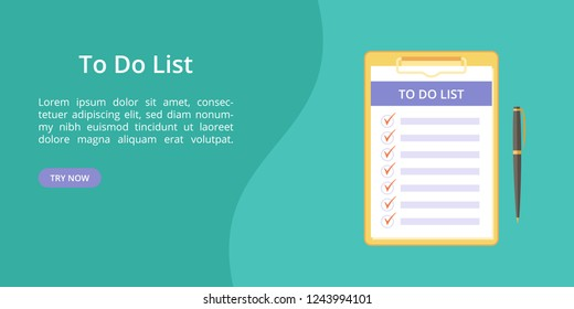 Todo list on clipboard with pen web template. Vector landing page concept, note and task to do on board with paper clip. Web template illustration, pen and clipboard with todo list on green background