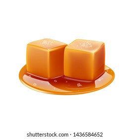 Toffee caramel with sea salt, realistic vector.