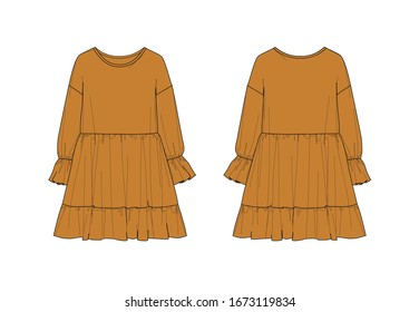 Toffee color girl's dress design, dropped shoulder, long sleeve, ruffle hem, wast seam, flat sketch, front & back views