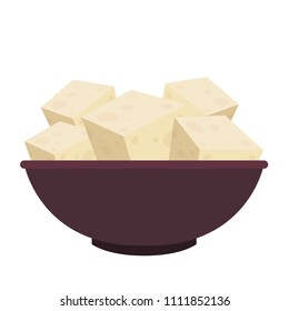 Tofu cartoon vector. free space for text. wallpaper. background. ingredient vector.