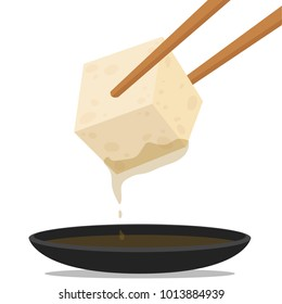 Tofu and chopsticks vector. free space for text. wallpaper.