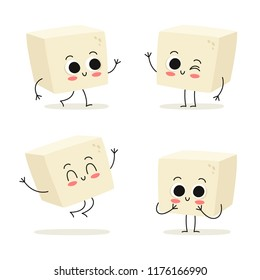 Tofu. Cute vegan protein food vector character set isolated on white