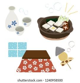 "tofu hot pot and Kotatsu set ""tofu"" is japanease traditional ,food soybean curd. ""sake"" is japanease traditional alcohol drink. ""kotatsu"" is japanease traditional Heating equipment."