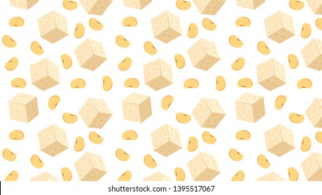 tofu and soybean pattern vector. wallpaper. white background. soybean vector.
