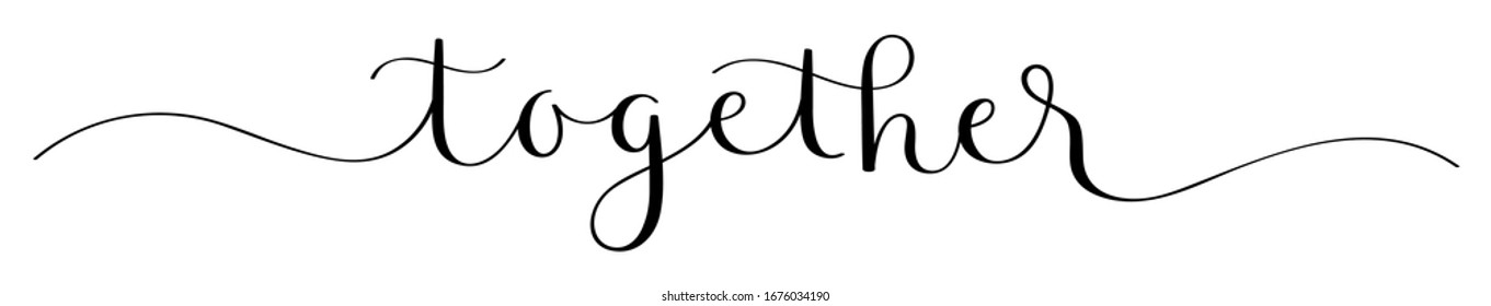 TOGETHER black vector brush calligraphy banner with swashes