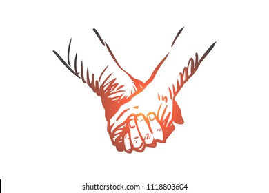 Together, hands, friendship, love, partnership concept. Hand drawn persons shaking hands or holding hands concept sketch. Isolated vector illustration.