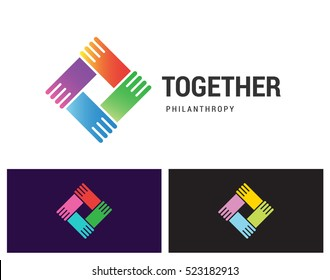 Together Philanthropy is a vector logotype template for social care, networking or media business company. Shake hands unity icon idea.