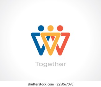 together symbol. template logo design. vector eps8