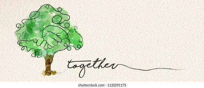 Togetherness concept web banner with watercolor continuous line illustration of hand inside a tree. EPS10 vector.