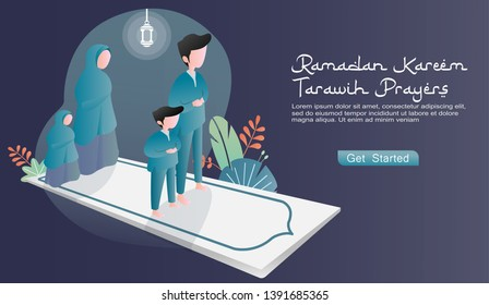 Togetherness the happy family carries out tarawih prayers in congregation. the isometric design prayer rugs, sets of plants, light lantern. flat vector cartoon illustration ramadan. landing page, web