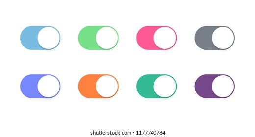 Toggle button switch off or turn on slider vector icons for web UI interface design