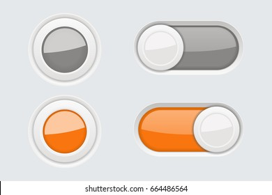 Toggle switch buttons on gray background. Vector 3d illustration