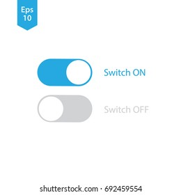 Toggle Switch Buttons. On and Off Sliders. Button Symbol. Vector Illustration