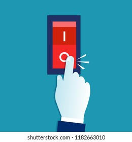 Toggle switch. Electric control, save energy concept. Hand turning on / off the light. Eps 10 Vector illustration, horizontal image, Minimalist white blue flat modern design.