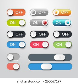 Toggle switch icons. On and Off position and Check Mark Flat web design elements. Template for app and website. Vector illustration