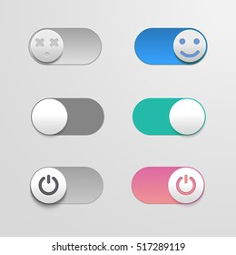 Toggle switch set, On and Off sliders, vector elements for your design. The switches in the form of smiley.