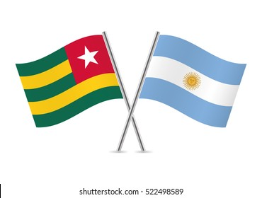 Togo and Argentina flags. Vector illustration.