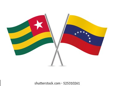 Togo and Venezuela flags. Vector illustration.