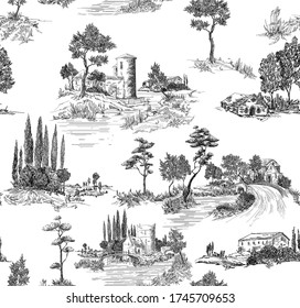 Toile de jouy pattern with countryside views with castles and houses and landscapes with trees, river and bridges with road in black and white color