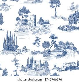 Toile de jouy pattern with countryside views with castles and houses and landscapes with trees, river and bridges with road in blue color