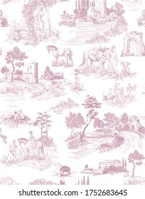 Toile de jouy pattern with countryside views with castles and houses and landscapes and walking people with animals-pets-horses, cats, dog in pink color