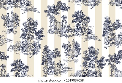 Toile de Jouy vector seamless pattern with stripes background