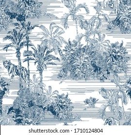 Toile Engraving Tropical Islands Seamless Pattern, Oriental Palm Trees Wallpaper, Wildlife Tigers in Exotic Plants Ocean Beach Blue on White Background, Linear Jungle Oceania India Landscape Print