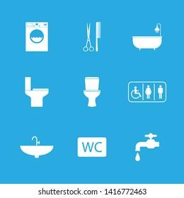 Toilet, Bathroom icon set. Vector illustration, flat design.