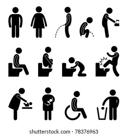Toilet Bathroom Male Female Pregnant Handicap Public Sign Symbol Icon Pictogram