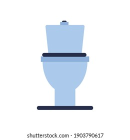 toilet bowl blue in flat style. isolated 2d vector
