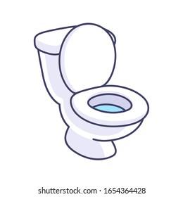 Toilet bowl cartoon drawing. Simple vector clip art illustration.