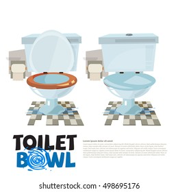 toilet bowl. close and open the lid - vector illustration