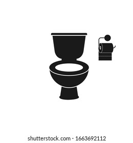 Toilet bowl icon, isolated on white vector Illustration