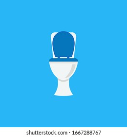 Toilet bowl illustration. Flat design. Vector.