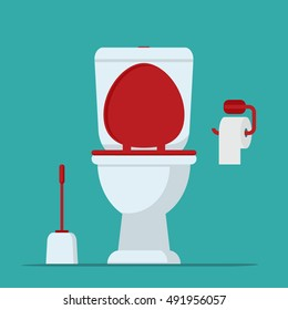 Toilet bowl, toilet paper and brush for toilet bowl. Vector illustration