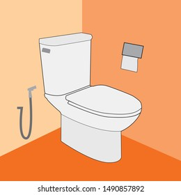 Toilet bowl  with toilet paper and hygienic shower. Vector illustration