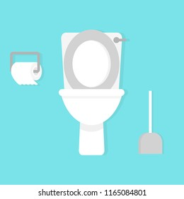 Toilet bowl with toilet paper roll. Simple flat cartoon vector illustration on white background
